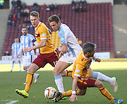 Dundee's Greg Stewart goes past Motherwell's Keith Lasley and Lee Erwin - Motherwell v Dundee, SPFL Premiership at Fir Park<br /> <br />  - &copy; David Young - www.davidyoungphoto.co.uk - email: davidyoungphoto@gmail.com