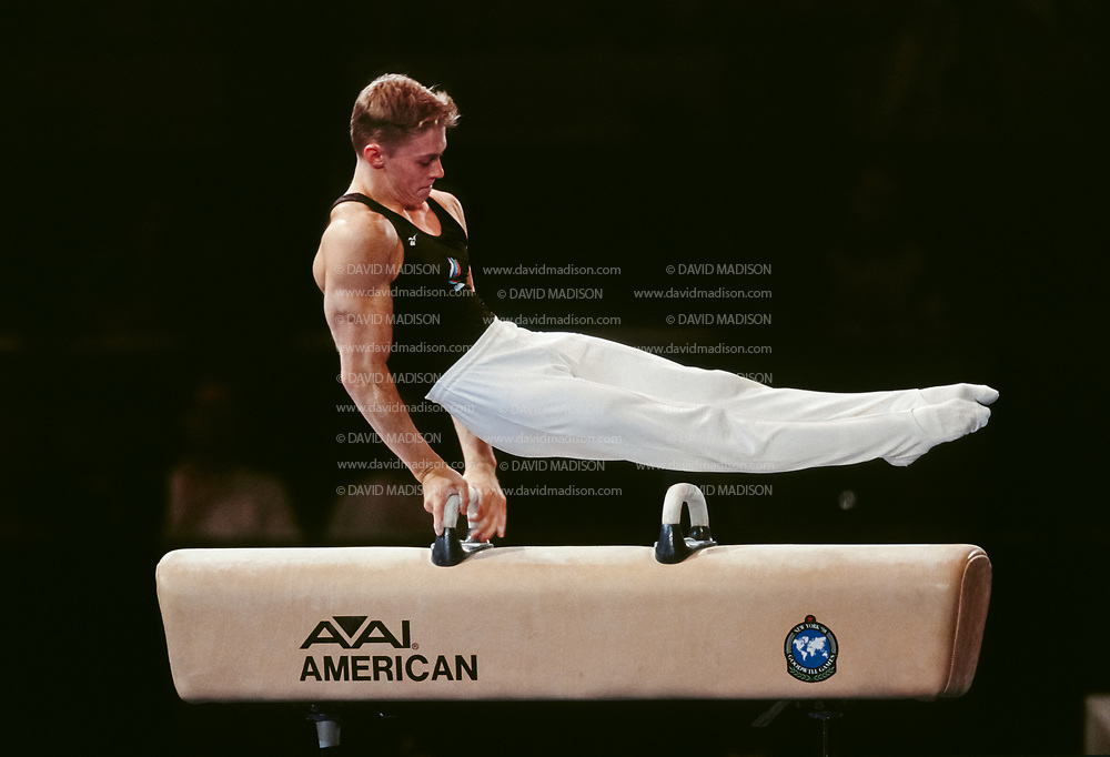 UNIONDALE, NY - JULY 1998:  Alexei Bondarenko of Russia competes on the pommel horse during the Men's Gymnastics competition of the Goodwill Games which took place from July 19 - August 2, 1998 in New York, New York.  The gymnastics venue was the Nassau Veterans Memorial Coliseum in Uniondale, New York.  (Photo by David Madison/Getty Images)