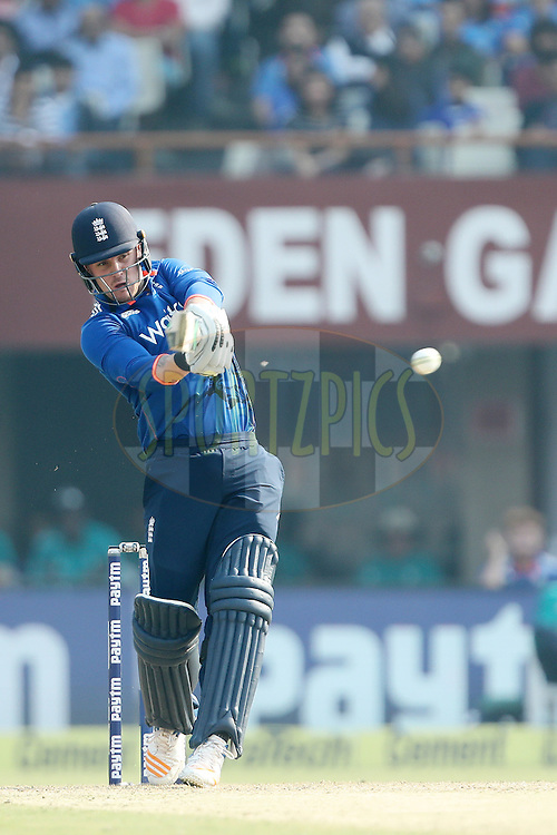 Jason Roy of England pulls for four during the third One Day International (ODI) between India and England  held at Eden Gardens in Kolkata on the 22nd January 2017<br /> <br /> Photo by: Ron Gaunt/ BCCI/ SPORTZPICS