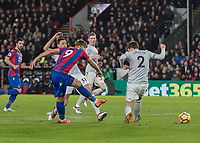 Football - 2017 / 2018 Premier League - Crystal Palace vs. Manchester United<br /> <br /> Alexander Sorloth (Crystal Palace) with a strike at the Mnachester United goal at Selhurst Park.<br /> <br /> COLORSPORT/DANIEL BEARHAM