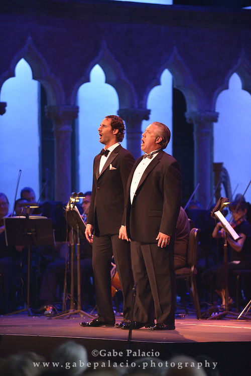 James Valenti, tenor, and Stephen Powell, baritone, in the performance of Don Carlos by Giuseppe Verdi in the Venetian Theater at Caramoor in Katonah New York, on July 20, 2013.<br /> photo by Gabe Palacio