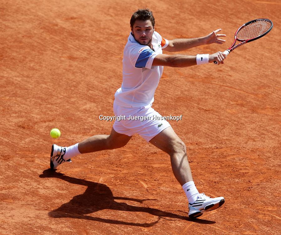 French Open 2011, Roland Garros,Paris,ITF Grand Slam Tennis Tournament, Stanislas Wawrinka (SUI), Einzelbild, Aktion