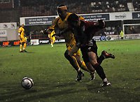 Photo: Tony Oudot/Richard Lane Photography. Brentford v Rochdale. Coca-Cola Football League Two. 01/11/2008. <br /> Charlie MacDonald of Brentford is brought down by Nathan Stanton of Rochdale in the area but the penalty is not given