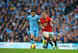 MANCHESTER, ENGLAND - Sunday, November 2, 2014: Manchester United's Luke Shaw in action against Manchester City during the Premier League match at the City of Manchester Stadium. (Pic by David Rawcliffe/Propaganda)