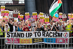 © Licensed to London News Pictures . 19/05/2018. Manchester, UK. A counter protest by Stand Up to Racism at Castlefield Bowl as the Football Lads Alliance demonstrate in Manchester , three days before the first anniversary of the Manchester Arena terror attack . Photo credit: Joel Goodman/LNP