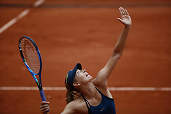May 29, 2018 - Paris, Ile-de-France, France - Maria Sharapova of Russia during the ladies singles first round match against Richel Hogenkamp of the Netherlands during day three of the 2018 French Open at Roland Garros on May 29, 2018 in Paris, France. (Credit Image: © Mehdi Taamallah/NurPhoto via ZUMA Press)