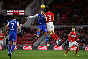 Middlesbrough defender George Friend (3) wins a header during the EFL Sky Bet Championship match between Middlesbrough and Ipswich Town at the Riverside Stadium, Middlesbrough, England on 29 December 2018.