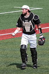 26 April 2014:   catcher Mike Hollenbeck during an NCAA Division 1 Missouri Valley Conference (MVC) Baseball game between the Southern Illinois Salukis and the Illinois State Redbirds in Duffy Bass Field, Normal IL