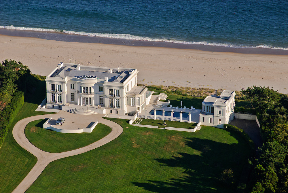 Mansion along the coast, aerial, New York, East Hampton, South Fork, Long Island, New York