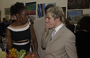 Tanya Moodie and Nick rhodes. The Queen's celebration of the Arts. Royal Academy. 16 May 2002. © Copyright Photograph by Dafydd Jones 66 Stockwell Park Rd. London SW9 0DA Tel 020 7733 0108 www.dafjones.com