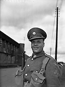 17/08/1960<br /> 08/17/1960<br /> 17 August 1960<br /> Airlift of the 33rd Battalion to the Congo. Private John MacSweeney, Collins Barracks, Cork, pictured before departing on U.N. duty in the Congo.