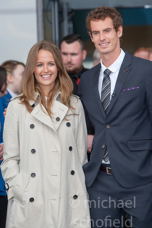 Kim and Andy leaving. Andy Murray received the Freedom of Stirling from Stirling Council, who have recognised the Wimbledon champion's sporting achievements at a special council meeting at Dunblane High School.<br /> &copy; Michael Schofield.