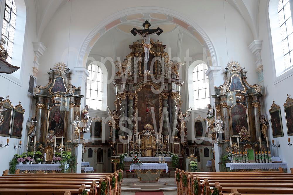 Altäre, Barock, Kirche innen, Michelsneukirchen, Vorderer Bayerischer Wald, Bayern, Deutschland | interior of baroque church Michaelsneukirchen, Bavarian Forest, Bavaria, Germany