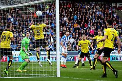 Michael Hefele of Huddersfield Town watches his header get cleared off the line by John Brayford of Burton Albion - Mandatory by-line: Robbie Stephenson/JMP - 01/04/2017 - FOOTBALL - The John Smith's Stadium - Huddersfield, England - Huddersfield Town v Burton Albion - Sky Bet Championship