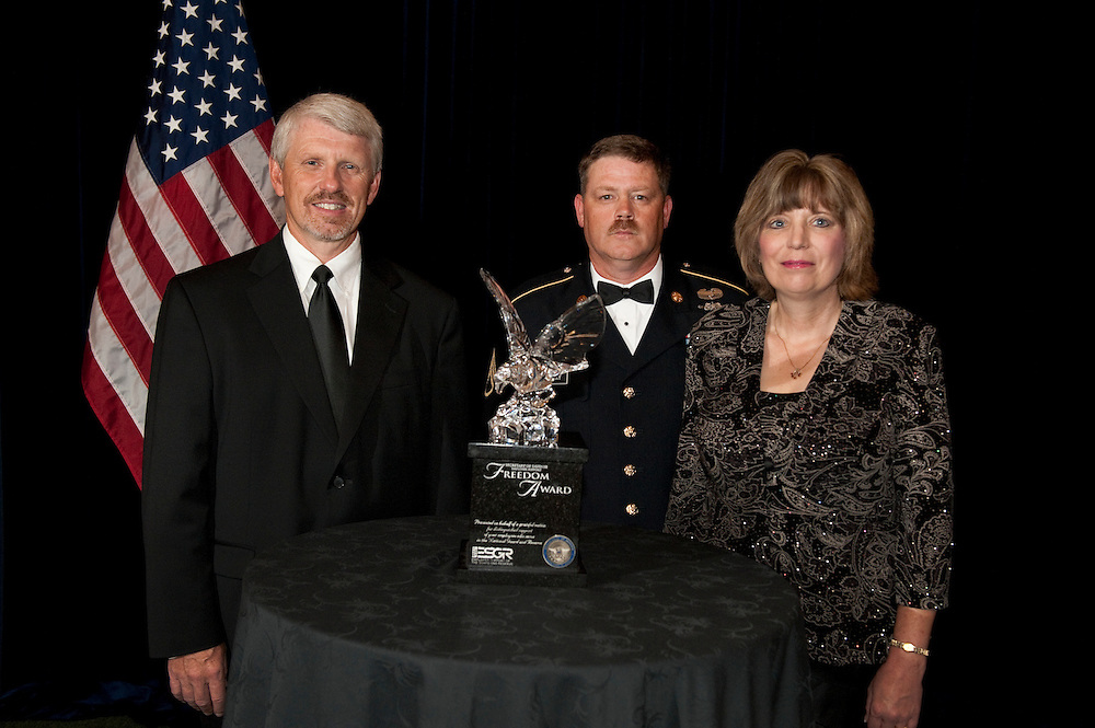 Recipients of the 2010 Secretary of Defense Employer Support Freedom Award get together for an award ceremony that recognizes 15 organizations across the nation who are honored for providing exemplary support of their Guard and Reserve employees.  Photo by Brien Aho