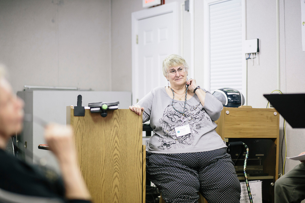 9/22/2014. FAIRFAX, VIRGINIA. After finishing taking an improv class, Wendy Campbell teaches Reader's Theater at Osher Lifelong Learning Institute in Fairfax, Va. Campbell, a former teacher, has found a new passion for acting through these classes.