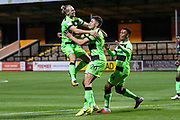 Forest Green Rovers Paul Digby(20) scores a goal 1-1 and celebrates with Forest Green Rovers Joseph Mills(23) during the EFL Sky Bet League 2 match between Cambridge United and Forest Green Rovers at the Cambs Glass Stadium, Cambridge, England on 2 October 2018.
