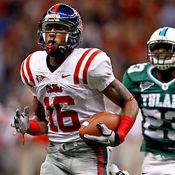 Sep 11, 2010; New Orleans, LA, USA; Mississippi Rebels wide receiver Markeith Summers (16) runs away from Tulane Green Wave defensive back Kendrell Washington (23) for a touchdown  during the first half at the Louisiana Superdome.  Mandatory Credit: Derick E. Hingle