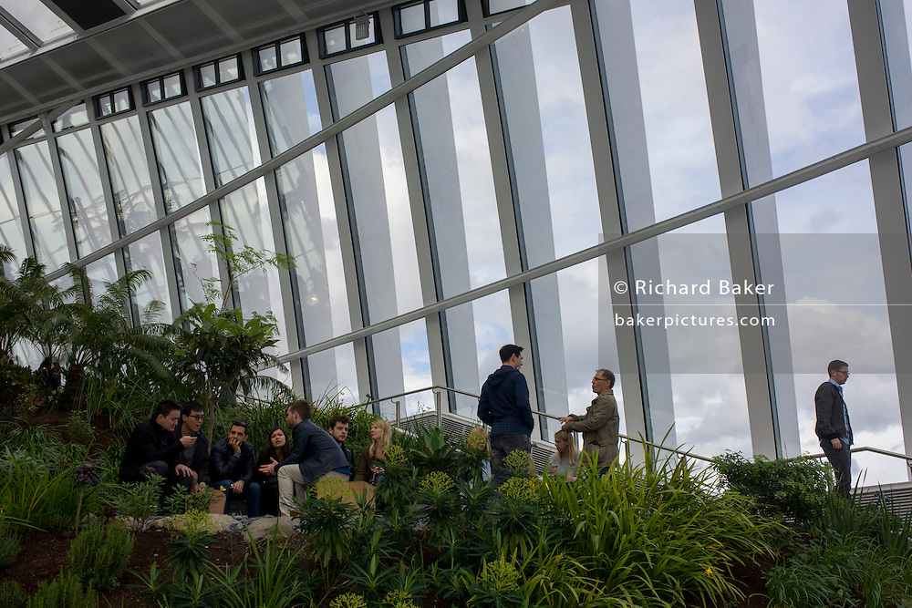 Architecture of the Sky Garden on the Walkie Talkie building in the City of London.