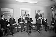 22/03/1966<br /> 03/22/1966<br /> 22 March 1966<br /> Northern Ireland tourist Board Exhibition at the Little Theatre, Brown Thomas in Dublin. Picture shows Mr Brendan O'Regan, Chairman of Bord Failte; Mr Brian Faulkner, Northern Ireland Minister of Commerce; Alderman Eugene Timmons, Lord Mayor of Dublin; Mr W.L. Stephens, Chairman Northern Ireland Tourist Board; Mr Erskine Childers, Minister for Transport and Power, speaking and Dr J.J. O'Driscoll, Director General, Bord Failte.