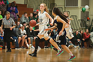 Rice's Lizzy Lyman (22) dribbles the ball down the court during the girls basketball game between the Burlington Sea Horses and the Rice Green knights at Rice Memorial high school on Thursday night February 18, 2016 in South Burlington. (BRIAN JENKINS/for the FREE PRESS)