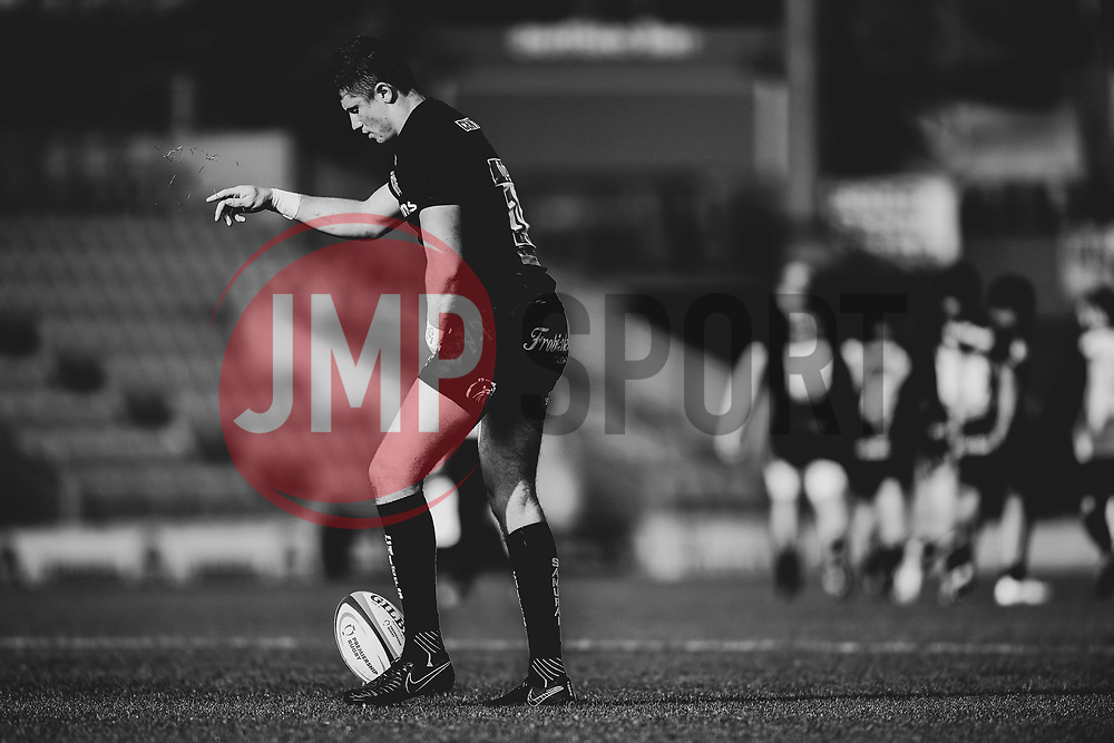 Harvey Skinner of Exeter Braves drops blades of grass as he lines up a conversion after the try  - Mandatory by-line: Ryan Hiscott/JMP - 17/11/2018 - RUGBY - Sandy Park Stadium - Exeter, England - Exeter Braves v Gloucester United - Premiership Rugby Shield