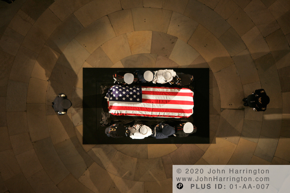 Mourners gather in the Rotunda of Capitol Hill during the funeral of former President of the United States, Ronald Reagan on Wednesday June 9, 2004.