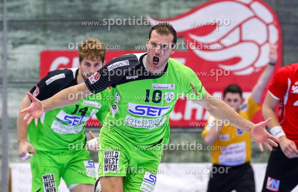 18.11.2015, BSFZ Südstadt, Maria Enzersdorf, AUT, HLA, SG INSIGNIS Handball WESTWIEN vs Alpla HC Hard, Grunddurchgang, 13. Runde, im Bild Duje Miljak (WestWien)// during Handball League Austria, 13 th round match between SG INSIGNIS Handball WESTWIEN and Alpla HC Hard at the BSFZ Südstadt, Maria Enzersdorf, Austria on 2015/11/18, EXPA Pictures © 2015, PhotoCredit: EXPA/ Sebastian Pucher