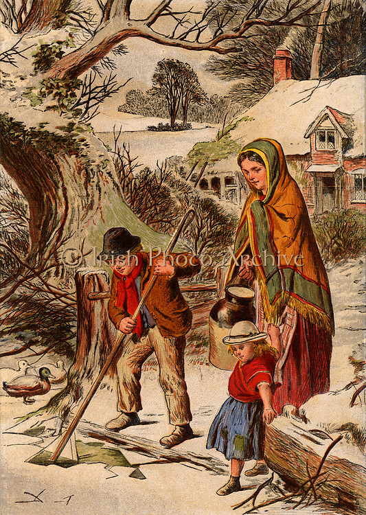 Winter: Country boy breaking ice so that his mother can fill her water jar. His sister grasps the edge their mother's shawl to prevent herself falling over.  Snow lies on the landscape and the roof of their cottage in the background. Chromolithograph c1870.