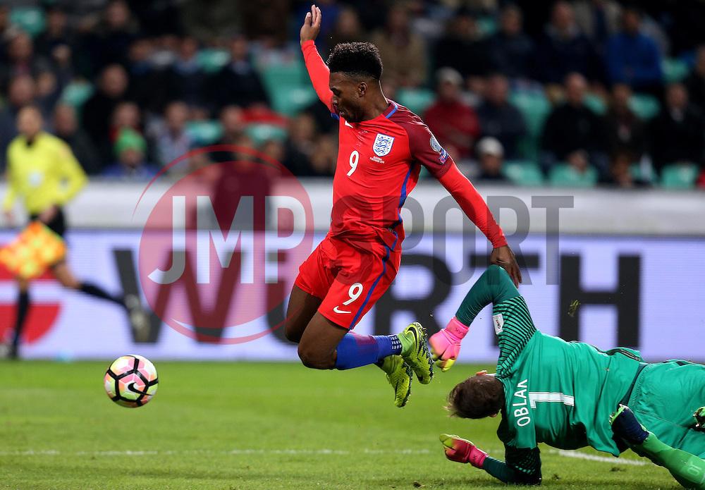 Daniel Sturridge of England tries to get past Jan Oblak of Slovenia - Mandatory by-line: Robbie Stephenson/JMP - 11/10/2016 - FOOTBALL - RSC Stozice - Ljubljana, England - Slovenia v England - World Cup European Qualifier