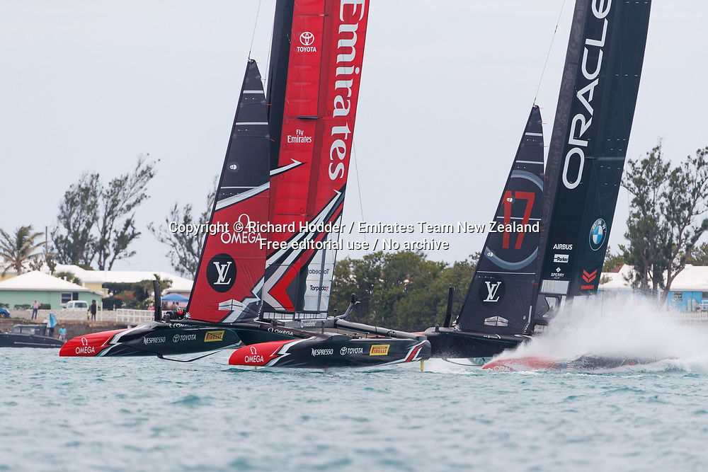 24/06/17 Louis Vuitton America's Cup Match Racing Day 3. Emirates Team New Zealand vs. Oracle Team USA races 5 &amp; 6. <br /> <br /> Copyright: Richard Hodder / Emirates Team New Zealand / www.photosport.nz