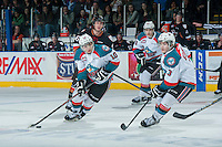 KELOWNA, CANADA - FEBRUARY 28: Nick Merkley #10 of Kelowna Rockets skates with the puck against the Calgary Hitmen on February 28, 2015 at Prospera Place in Kelowna, British Columbia, Canada.  (Photo by Marissa Baecker/Shoot the Breeze)  *** Local Caption *** Nick Merkley;
