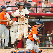 15 April 2018: San Diego State's Casey Schmitt (8) celebrates after scoring in the bottom of the second to give the Aztecs a 3-0 lead over Fullerton. The San Diego State baseball team closed out the weekend series against Cal State Fullerton with a 9-6 win at Tony Gwynn Stadium. <br /> More game action at sdsuaztecphotos.com