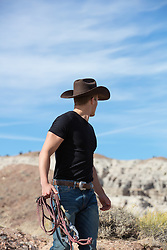 cowboy looking at a mountain range