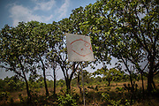 A bow hangs on a makeshift target with a fish painted on it at  Xerente indigenous village  near Tocantinia, Brazil, Friday, October 2, 2015.  One nearly empty vastness some decades ago, the northern part of Goias state territory, Tocantins was the latest Brazilian state to be created,  27 years ago. Now, luring Brazilians with an abundance of natural resources, its indigenous heritage, an aura of sustainability, infrastructure and lower prices, the government vows that this solid investment package will make up the facade of a land of opportunity. And eventually attract qualified workforce to populate the area. Profiting from side publicity of two world events, Brazil aims at throwing some light on its developmental potential, and has already helped to transform the locally known national indigenous games in the first international event of this type. In some weeks thousands of indigenous athletes from 24 countries will flock to the arena to compete, share and showcase their faces to the world.  (Hilaea Media/ Dado Galdieri for the Wall Street Journal)