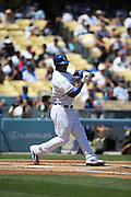 LOS ANGELES, CA - AUGUST 28:  Yasiel Puig #66 of the Los Angeles Dodgers checks his swing during the game against the Chicago Cubs on Wednesday, August 28, 2013 at Dodger Stadium in Los Angeles, California. The Dodgers won the game in a 4-0 shutout. (Photo by Paul Spinelli/MLB Photos via Getty Images) *** Local Caption *** Yasiel Puig