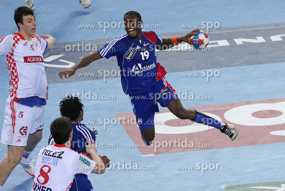 Luc Abalo (19) of France during 21st Men's World Handball Championship 2009 Main round Group I match between National teams of France and Croatia, on January 27, 2009, in Arena Zagreb, Zagreb, Croatia.  (Photo by Vid Ponikvar / Sportida)