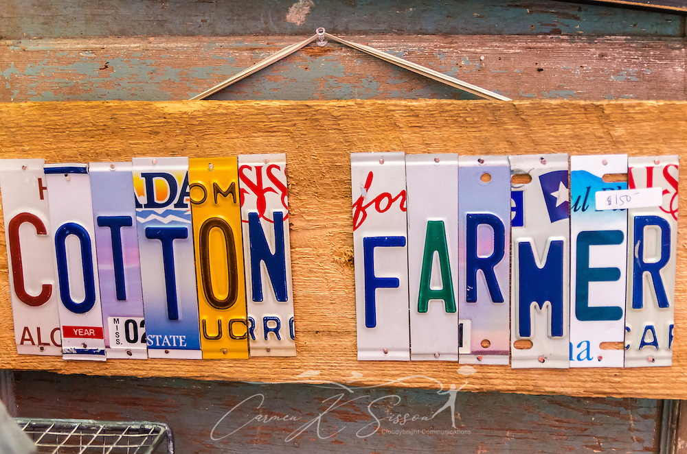 Signs made out of sliced up license plates are one of the popular items at Mississippi Gift Company in Greenwood, Miss. (Photo by Carmen K. Sisson)