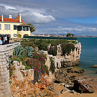Europe, Portugal, Cascais. Praia da Rainha, a beach in Cascais on the Estoril coast.