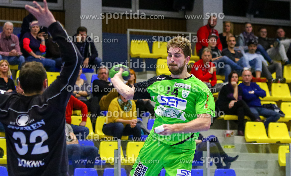 18.11.2015, BSFZ Südstadt, Maria Enzersdorf, AUT, HLA, SG INSIGNIS Handball WESTWIEN vs Alpla HC Hard, Grunddurchgang, 13. Runde, im Bild Fabian Posch (WestWien)// during Handball League Austria, 13 th round match between SG INSIGNIS Handball WESTWIEN and Alpla HC Hard at the BSFZ Südstadt, Maria Enzersdorf, Austria on 2015/11/18, EXPA Pictures © 2015, PhotoCredit: EXPA/ Sebastian Pucher