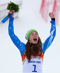 18-02-2014 SKIEN: OLYMPIC GAMES: SOTSJI<br /> olympic Champion Tina Maze of Slovenia during the Flower Ceremony of ladies Giant Slalom to the Olympic Winter Games Sochi 2014<br /> ***NETHERLANDS ONLY***<br /> ©2014-FotoHoogendoorn.nl