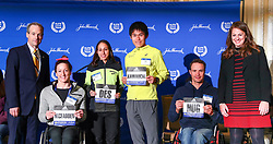 press conference Jack Fleming, Des Linden, Yuki Kawauchi, Tatyana McFadden, Marcel Hug, defending champions, Boston Marathon weekend