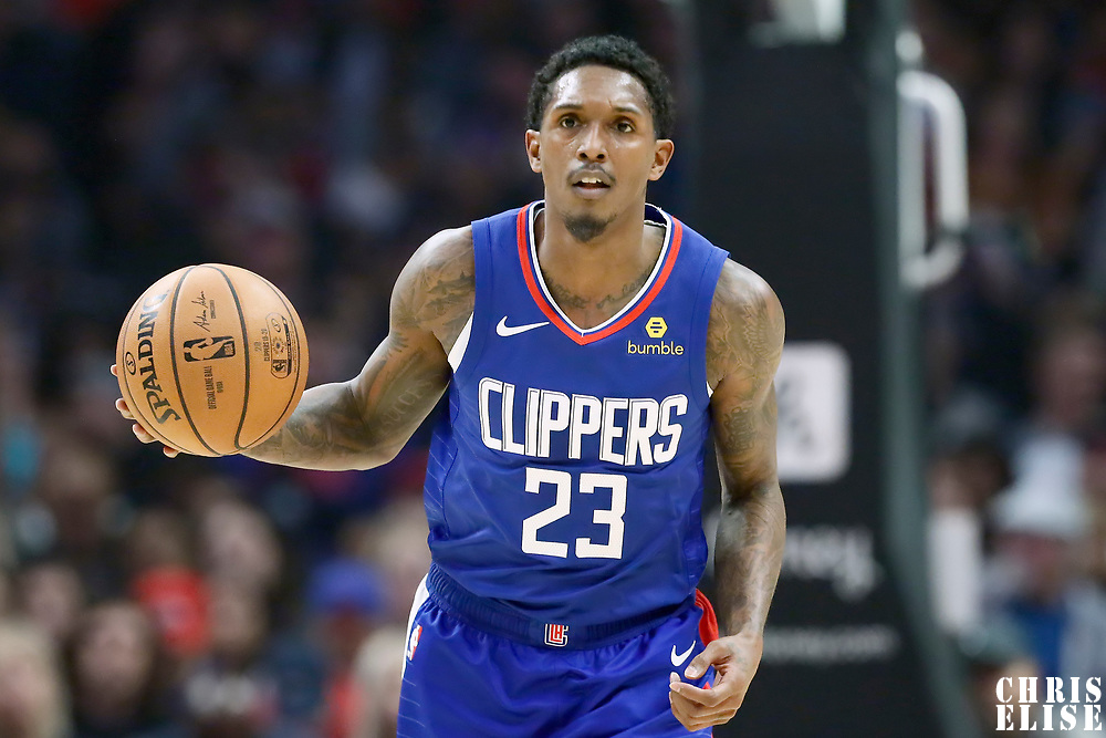 LOS ANGELES, CA - NOV 3: Lou Williams (23) of the LA Clippers brings the ball up court during a game on November 3, 2019 at the Staples Center, in Los Angeles, California.