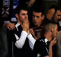 Photo: Jed Wee/Sportsbeat Images.<br /> Scotland v Italy. UEFA European Championships Qualifying. 17/11/2007.<br /> <br /> A dejected Scotland fan is consoled by a friend at the end of the match.