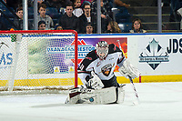 KELOWNA, CANADA - MARCH 16:  David Tendeck #30 of the Vancouver Giants makes a save against the Kelowna Rockets on March 16, 2019 at Prospera Place in Kelowna, British Columbia, Canada.  (Photo by Marissa Baecker/Shoot the Breeze)