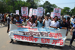 April 25, 2018 - Dhaka, Bangladesh - Samajtantrik chatra Front (Socialist Student Front) activists demonstration in front of Home Ministry demanding release their arrested activists in Dhaka, Bangladesh, on April 25, 2018. (Credit Image: © Str/NurPhoto via ZUMA Press)