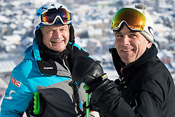 18.01.2017, Hahnenkamm, Kitzbühel, AUT, FIS Weltcup Ski Alpin, Kitzbuehel, Abfahrt, Herren, 2. Training, Streckenbesichtigung, im Bild v.l. Hans Pum (ÖSV Sportdirektor), Axel Naglich (Rennleiter) // f.l. Hans Pum Austrian Ski Association sporting director race director Axel Naglich during the course inspection for the 2nd practice run of men's Downhill of FIS Ski Alpine World Cup at the Hahnenkamm in Kitzbühel, Austria on 2017/01/18. EXPA Pictures © 2017, PhotoCredit: EXPA/ Johann Groder