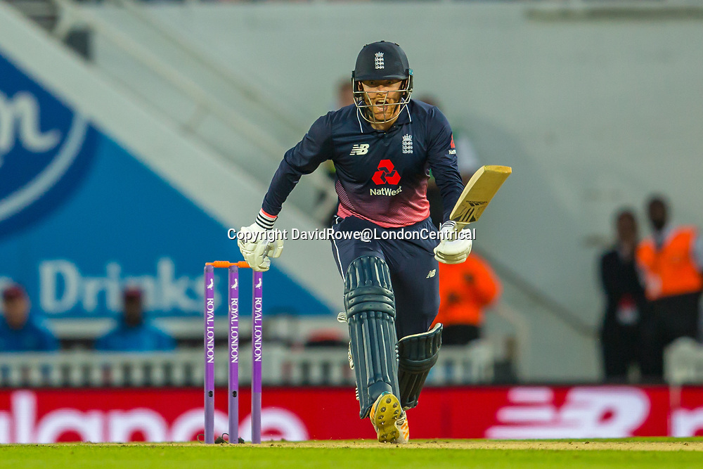 London,UK. 27 September 2017. Jonny Bairstow batting for England. England v West Indies. In the fourth Royal London One Day International at the Kia Oval.