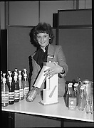 24/01/1979.01/24/1979.24th January 1979.Unidentified women prepares bottles of SodaStream at the products Irish launch at the Burlington Hotel, Dublin.