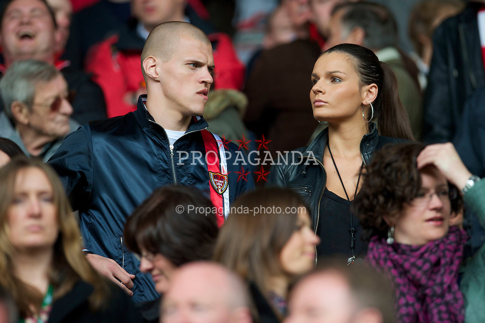 LIVERPOOL, ENGLAND - Sunday, May 2, 2010: Liverpool's injured Slovakian defender Martin Skrtel with his girlfriend Barbora Lovasova pictured before the Premiership match against Chelsea at Anfield. (Photo by David Rawcliffe/Propaganda)
